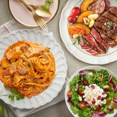 삼양SET1(까르보 불닭 파스타+삼시세끼 스테이크+리코타 치즈 샐러드)
