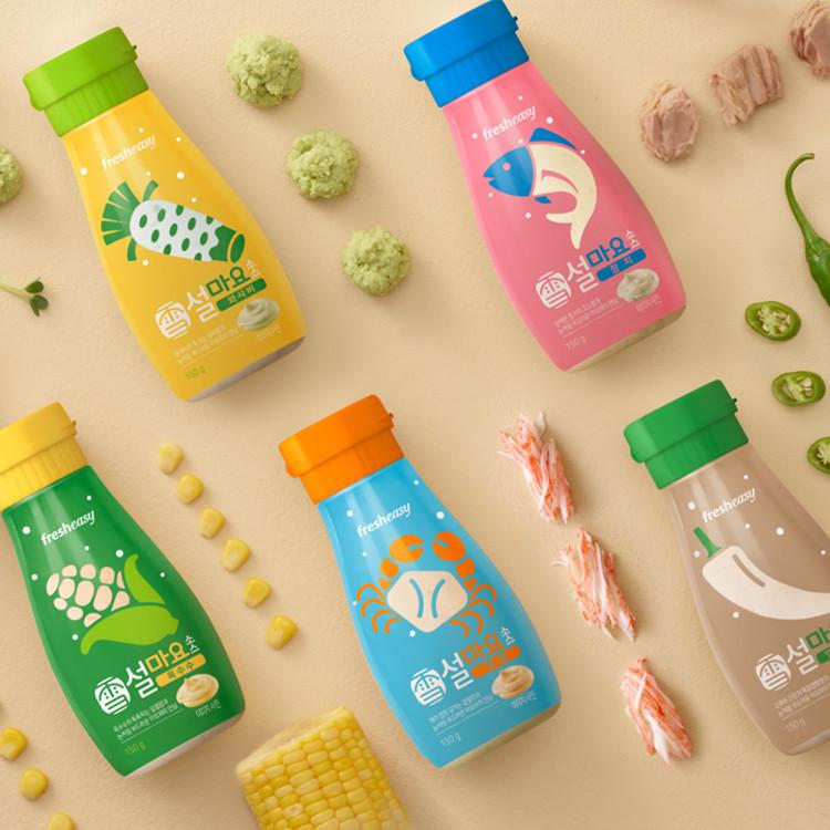[프레시지] 설마요소스 5종 SET (옥수수맛 150g+게맛 150g+와사비맛 150g+땡초간장맛 150g+참치맛 150g) 이미지